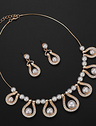 cheap -Women's Jewelry Set Bridal Jewelry Sets Cut Out Precious Fashion Imitation Pearl Gold Plated Earrings Jewelry Gold For Christmas Wedding Halloween Party Evening Gift 1 set