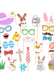 cheap -Photo Booth Props & Signs Card Paper 1 set Easter