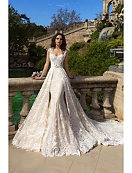 cheap -Mermaid / Trumpet Wedding Dresses Sweetheart Neckline Court Train Lace Tulle Lace Over Satin Regular Straps Boho Plus Size Detachable with Appliques 2020