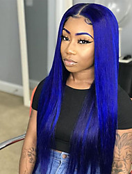 Недорогие -Синтетические кружевные передние парики Прямой Боковая часть Лента спереди Парик Длинные Синий Искусственные волосы 18-26 дюймовый Жен. Мягкость Регулируется Для вечеринок Синий