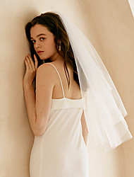 cheap -Two-tier Sweet Wedding Veil Fingertip Veils with Solid Tulle
