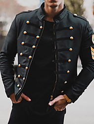 cheap -Men's Daily Basic Winter Regular Coat, Solid Colored Black & Red Turndown Long Sleeve Others Oversized Black