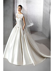 cheap -A-Line Jewel Neck Chapel Train Polyester / Lace / Tulle Cap Sleeve Plus Size Wedding Dresses with Appliques 2020