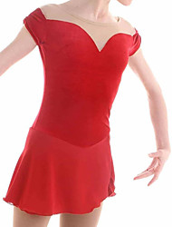 cheap -Figure Skating Dress Women's Girls' Ice Skating Dress Red Spandex High Elasticity Training Competition Skating Wear Patchwork Sleeveless Ice Skating Figure Skating / Kids