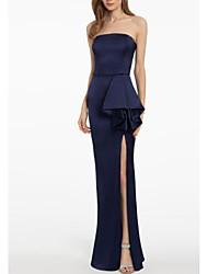 cheap -Sheath / Column Strapless Floor Length Satin Open Back Engagement / Formal Evening Dress with Appliques / Split Front 2020