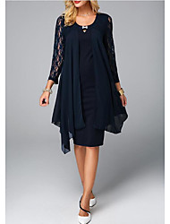 cheap -Sheath / Column Mother of the Bride Dress Plus Size Jewel Neck Knee Length Chiffon 3/4 Length Sleeve with Lace Crystals 2020