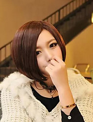 cheap -Synthetic Wig kinky Straight Bob Wig Short Brown Synthetic Hair 11 inch Women's Best Quality Brown