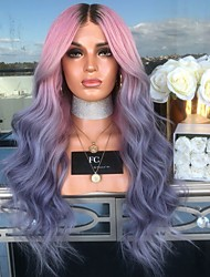 cheap -Synthetic Wig Body Wave Asymmetrical Wig Long Pink / Purple Synthetic Hair 27 inch Women's Color Gradient Best Quality Purple