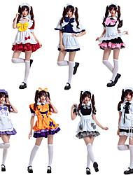 cheap -Sweet Lolita Maid Uniforms Dress Female Japanese Cosplay Costumes Black / White / Purple Color Block Bowknot Short Sleeve Knee Length / Apron