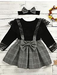 cheap -Kids Girls' Plaid Solid Colored Dress Black