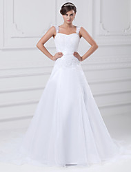 cheap -A-Line Wedding Dresses Square Neck Chapel Train Lace Organza Satin Regular Straps with Beading Appliques 2020