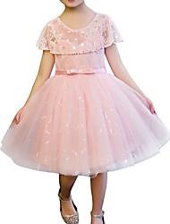 cheap -A-Line Knee Length Party Flower Girl Dresses - Cotton Short Sleeve Jewel Neck with Bow(s) / Appliques