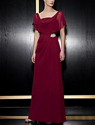 cheap -A-Line Square Neck Ankle Length Chiffon Short Sleeve Elegant & Luxurious Mother of the Bride Dress with Crystal Brooch / Ruching 2020