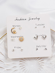 cheap -Women's Stud Earrings Earrings Earrings Set Mismatched Sun Moon Heart Trendy Korean Sweet Fashion Imitation Pearl Imitation Diamond Earrings Jewelry Silver For Graduation Daily Stage Street Holiday 6