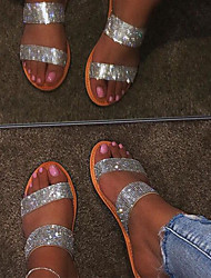 cheap -Women's Sandals Flat Heel Open Toe Rhinestone / Sparkling Glitter PU Business / Casual Spring &  Fall / Spring & Summer Gold / Silver / Party & Evening