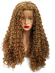 cheap -Synthetic Lace Front Wig Curly Loose Curl Free Part Glueless Lace Front Lace Front Wig Long Medium Length Strawberry Blonde / Medium Auburn Synthetic Hair 18-24 inch Women's New Design Women Thick
