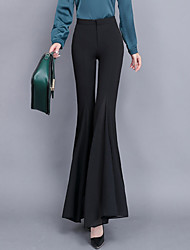 cheap -Women's Street chic / Sophisticated Wide Leg Pants - Solid Colored Ruffle Black White S M L