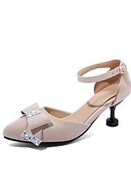 cheap -Women's Sandals Stiletto Heel Pointed Toe Buckle Suede Minimalism Spring & Summer Black / Beige / Party & Evening