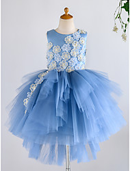 cheap -Ball Gown Asymmetrical Flower Girl Dress - Satin / Tulle Sleeveless Jewel Neck with Petal / Pearls