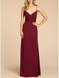 cheap -Sheath / Column Spaghetti Strap Floor Length Satin Bridesmaid Dress with Ruching / Open Back