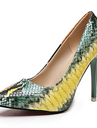 cheap -Women's Heels Print Shoes Stiletto Heel Pointed Toe PU Fall & Winter Pink / Green / Daily / 3-4
