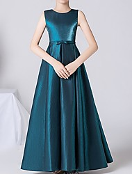 cheap -A-Line Jewel Neck Ankle Length Satin Junior Bridesmaid Dress with Bow(s)