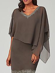 cheap -Sheath / Column Mother of the Bride Dress Plus Size Jewel Neck Short / Mini Chiffon 3/4 Length Sleeve with Beading Ruffles Tier 2020