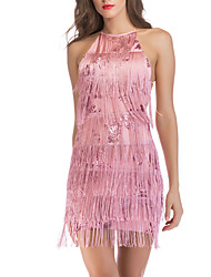 cheap -Women's Party / Evening Basic Bodycon Sheath Dress - Solid Colored Sequins Tassel Fringe Black White Blushing Pink S M L XL
