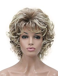 cheap -Synthetic Wig Curly Short Bob Wig Blonde Short Light golden Golden Brown Natural Black Synthetic Hair 6 inch Women's Synthetic Blonde Black