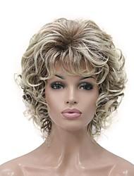 cheap -Synthetic Wig Curly Short Bob Wig Blonde Short Light golden Golden Brown Natural Black Synthetic Hair 6 inch Women's Synthetic Blonde Black