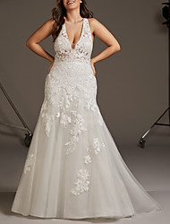 cheap -Mermaid / Trumpet V Neck Sweep / Brush Train Lace / Tulle Regular Straps Plus Size Wedding Dresses with 2020