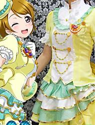 cheap -Sweet Lolita Dress Female Japanese Cosplay Costumes Yellow Color Block Short Sleeve Knee Length