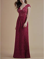 cheap -A-Line Plunging Neck Floor Length Lace Bridesmaid Dress with