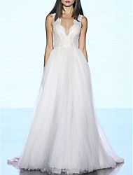 cheap -A-Line Wedding Dresses V Neck Sweep / Brush Train Lace Tulle Regular Straps Plus Size with 2020