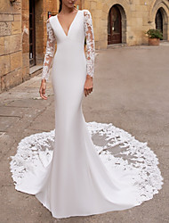cheap -Mermaid / Trumpet Wedding Dresses V Neck Court Train Lace Stretch Satin Long Sleeve Plus Size Illusion Sleeve with Buttons 2020