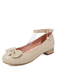 cheap -Women's Heels Low Heel Round Toe Bowknot / Imitation Pearl PU Sweet / Minimalism Spring & Summer White / Pink / Beige