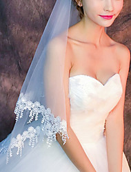 cheap -Two-tier Classic Style / Lace Wedding Veil Fingertip Veils with Solid / Pattern POLY / Lace