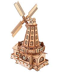 abordables -Puzzles 3D Puzzles en bois Moulin à vent Créatif Fait à la main En bois 127 pcs Enfant Adulte Tous Jouet Cadeau