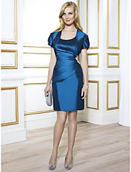 cheap -Two Piece Sheath / Column Mother of the Bride Dress Wrap Included Scoop Neck Short / Mini Taffeta Short Sleeve with Crystal Brooch Ruching 2020