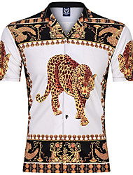 cheap -Men's Daily Basic Shirt - Leopard Print Gold