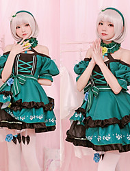 cheap -Sweet Lolita Dress Female Japanese Cosplay Costumes Green Color Block Short Sleeve Above Knee
