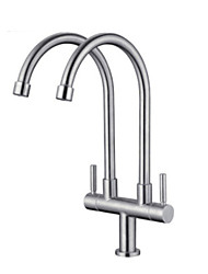 cheap -Kitchen faucet - Two Handles Two Holes Electroplated Standard Spout / Tall / High Arc Centerset Contemporary Kitchen Taps