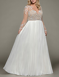 cheap -A-Line Bateau Neck Floor Length Satin / Tulle Long Sleeve Romantic Plus Size / Illusion Sleeve Wedding Dresses with Beading / Draping / Embroidery 2020