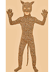 cheap -Zentai Suits Catsuit Skin Suit Animal Cosplay Kid's Spandex Spandex Lycra Lycra Cosplay Costumes Sex Brown Leopard Animal Christmas Halloween Carnival / High Elasticity