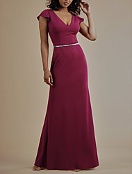cheap -Sheath / Column Plunging Neck Floor Length Satin Bridesmaid Dress with Bow(s) / Bandage / Open Back