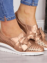 cheap -Women's Loafers & Slip-Ons Wedge Heel Pointed Toe Bowknot Faux Leather Casual Spring &  Fall Gold / Silver / Pink
