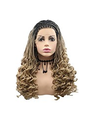 cheap -Synthetic Lace Front Wig Plaited Braid Lace Front Wig Black / Blonde Medium Length Black / Gold Synthetic Hair 26 inch Women's Women Braided Wig Black / Blonde Sylvia