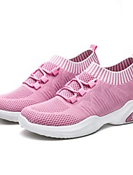 cheap -Women's Athletic Shoes Flat Heel Round Toe Tissage Volant Running Shoes Summer Black / Red / Pink
