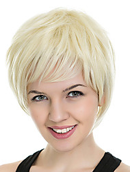 cheap -Synthetic Wig kinky Straight Loose Curl Asymmetrical Wig Short Light golden Synthetic Hair 4 inch Women's Best Quality Blonde