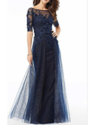 cheap -A-Line Bateau Neck Floor Length Lace / Tulle Half Sleeve Elegant Mother of the Bride Dress with Appliques / Lace 2020